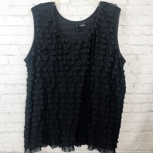 New direction black ruffle tank top size 2X